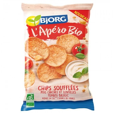 Chips Soufflées Pois chiches et Lentilles Tomate Basilic bio