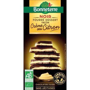 Chocolat noir fourré dessert façon crème au citron