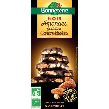 Chocolat noir amandes entières caramélisées 200g