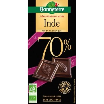 Chocolat dégustation noir origine Inde 70%