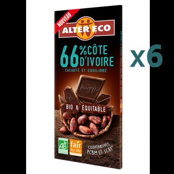 Chocolat noir 66% Côte d'Ivoire (5+1 offert)