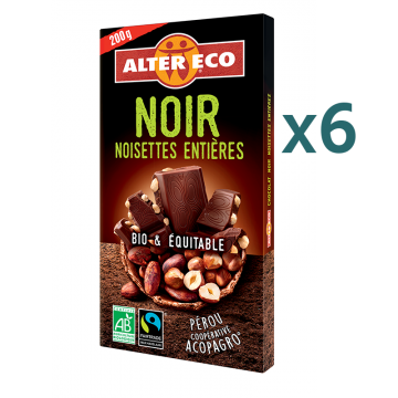 Chocolat noir noisettes entières (5+1 offert)